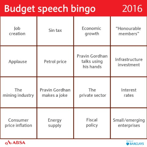 Absa Budge Speech Bingo